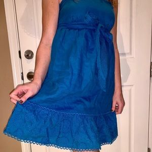 JUICY COUTURE PEACOCK blue linen type sundress